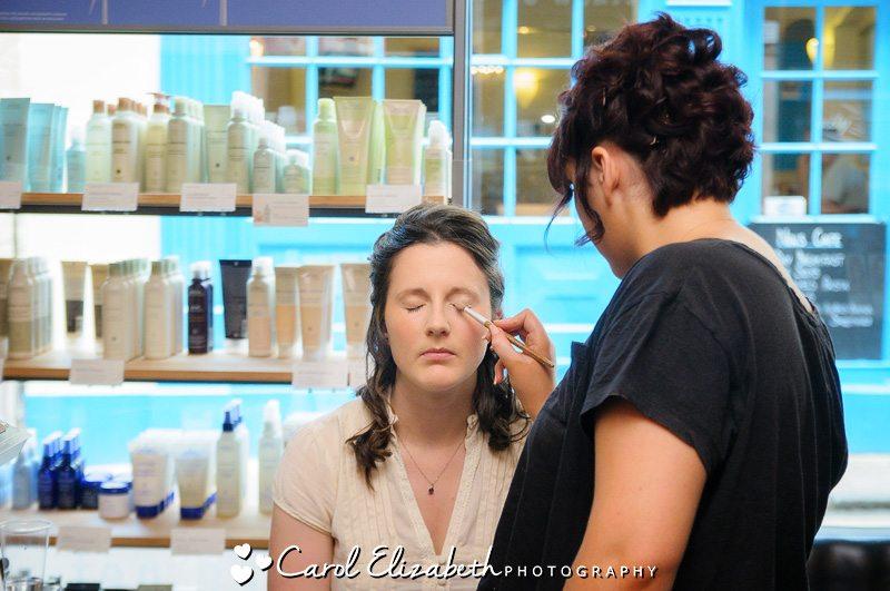 bridal preparation - monochrome image of bridal make-up