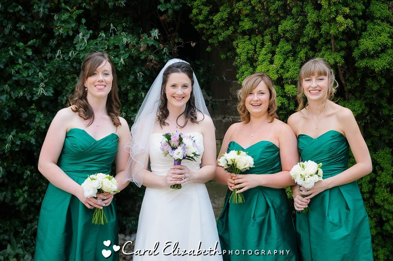 bride and bridesmaids before the ceremony - oxford college photographer