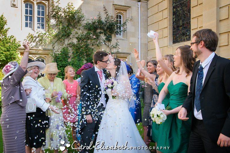 Stunning confetti photo at Pembroke College wedding
