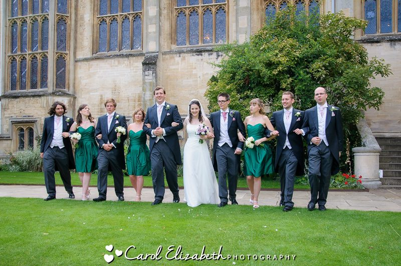 bridal party after the oxford college wedding - oxford photography