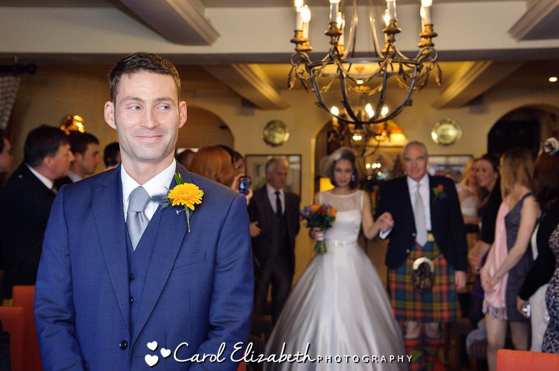 Bride anf groom during wedding ceremony at Bay Tree Burford hotel