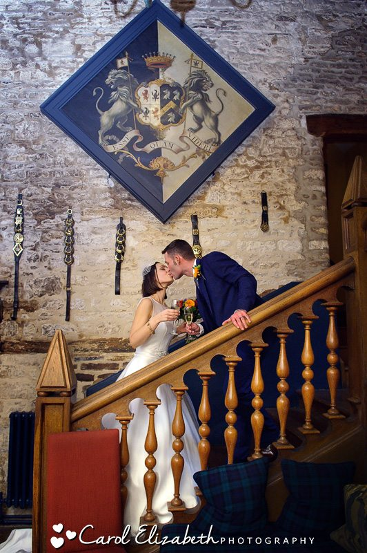 Bride and groom interior wedding photography at The Bay Tree in Burford