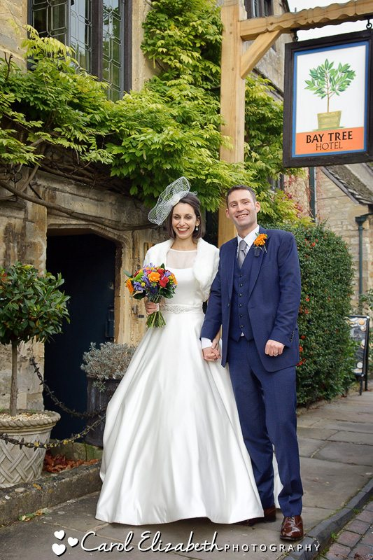 Newlyweds outside The Bay Tree after their wedding ceremony