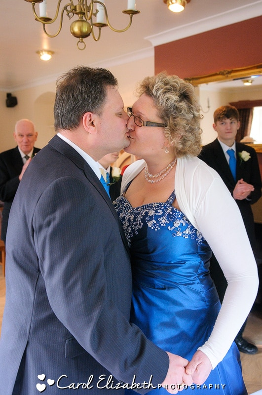 First kiss at Bicester wedding