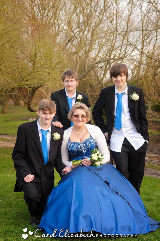 Bride and sons at Oxfordshire wedding