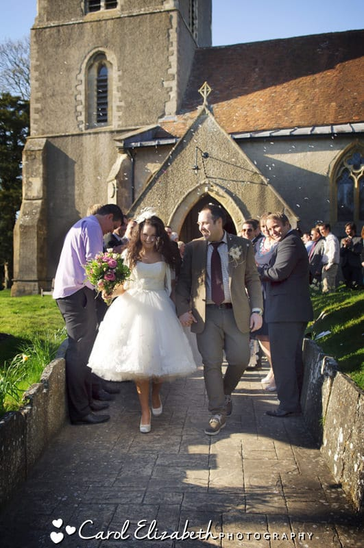 bride and groom at harwell church wedding