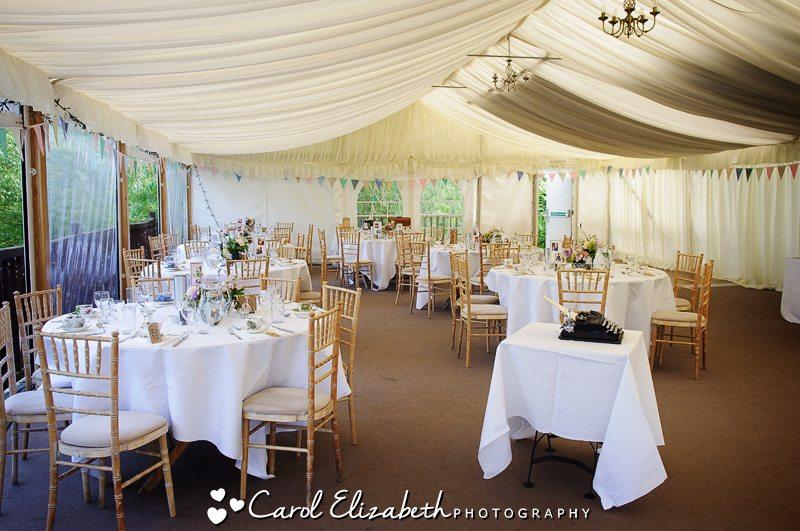 Wedding reception room at Cherwell Boathouse
