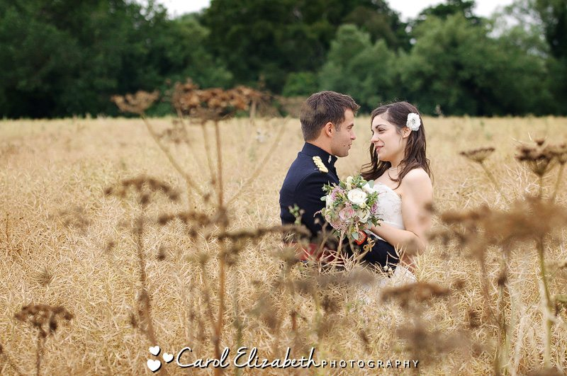 Vintage wedding photo in cornfield