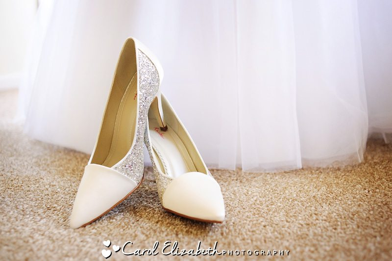 Brides dress and shoes - Hawkwell House weddings in Oxfordshire