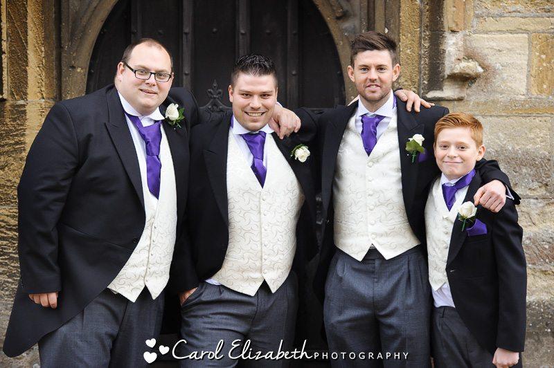 Groom and ushers before wedding at Radley Church