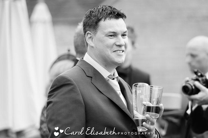 Black and white candid wedding photo