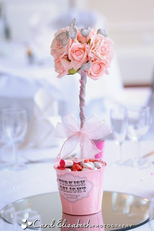 Wedding table decorations - small tree centre piece