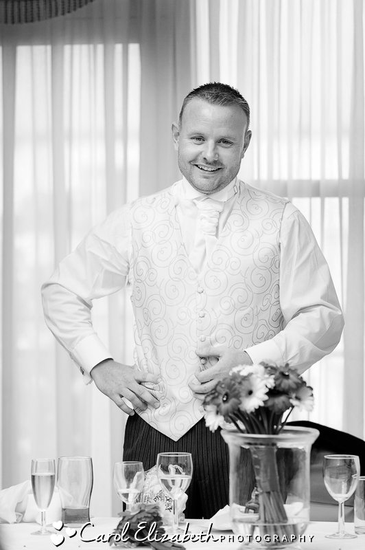 Groom black and white image of speeches