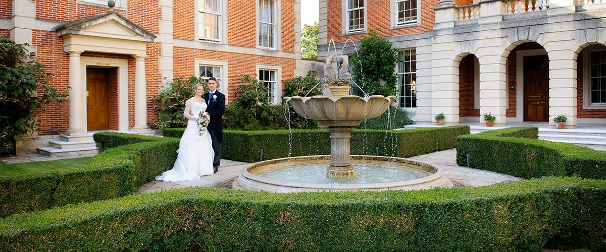 Bride and groom at Oxford University wedding