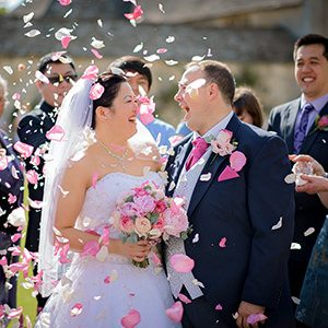 Wedding confetti at caswell house wedding