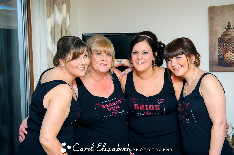 Bride and bridesmaids in matching pyjamas