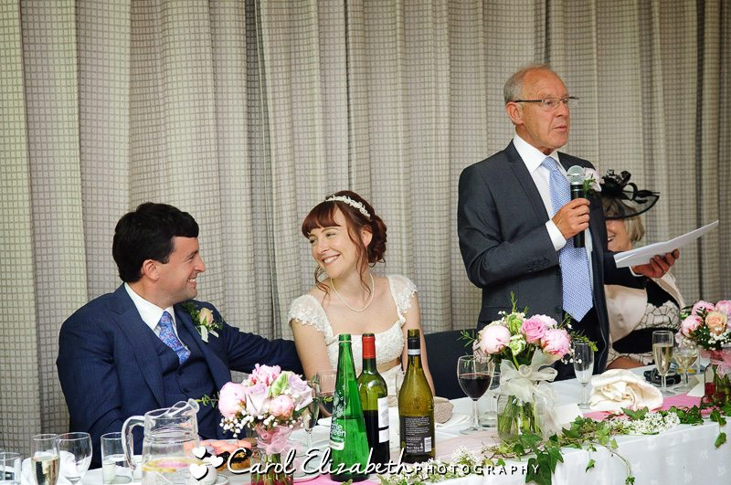 Informal wedding photogs of speeches
