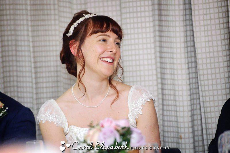 Informal wedding photo of bride