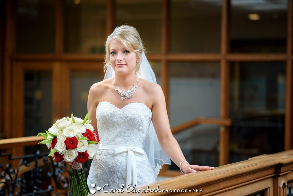 Bride with lace dress at Milton Hill House wedding