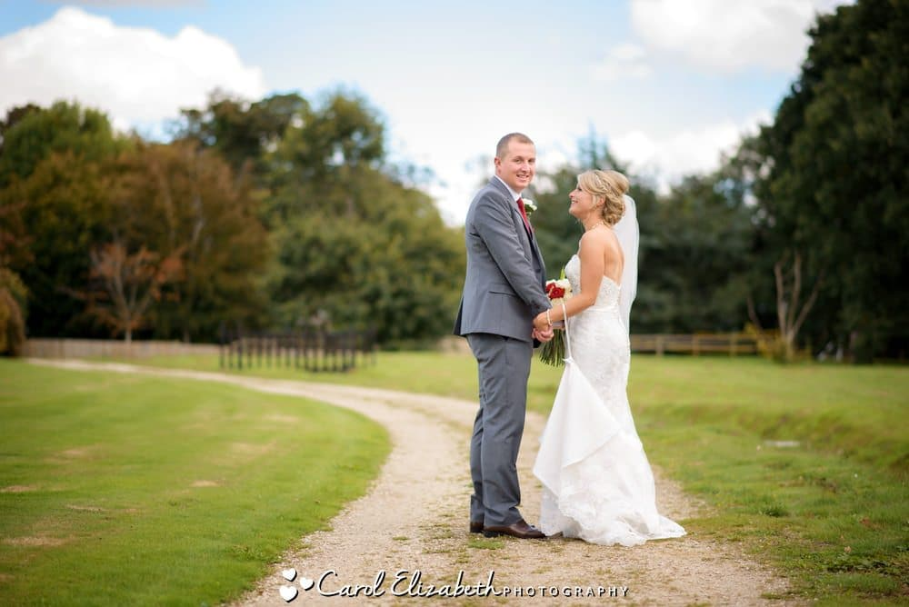 Walking in the grounds after wedding at Milton Hill House Hotel