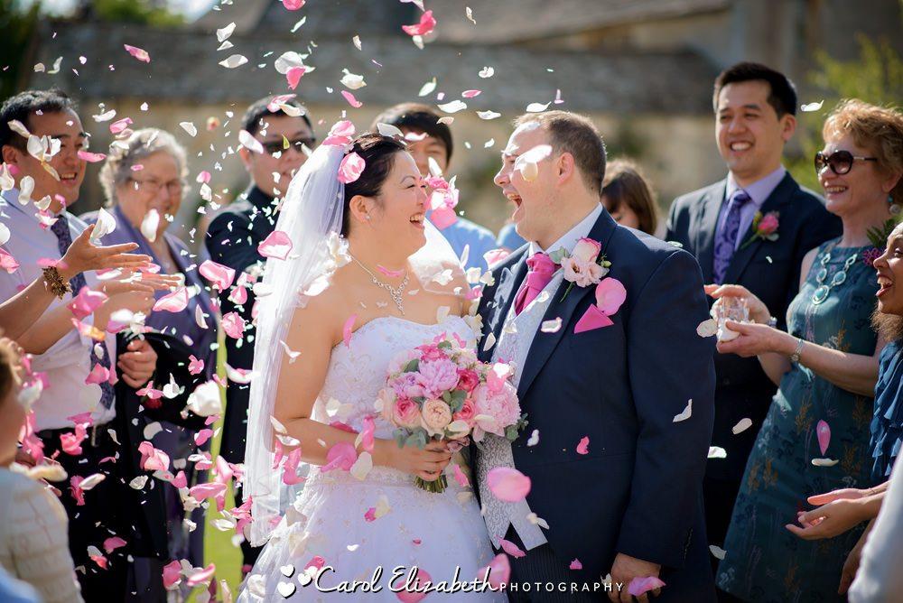 Wedding confetti pink rose petals