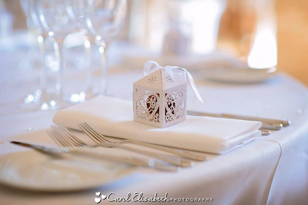 Wedding favours - white lace boxes