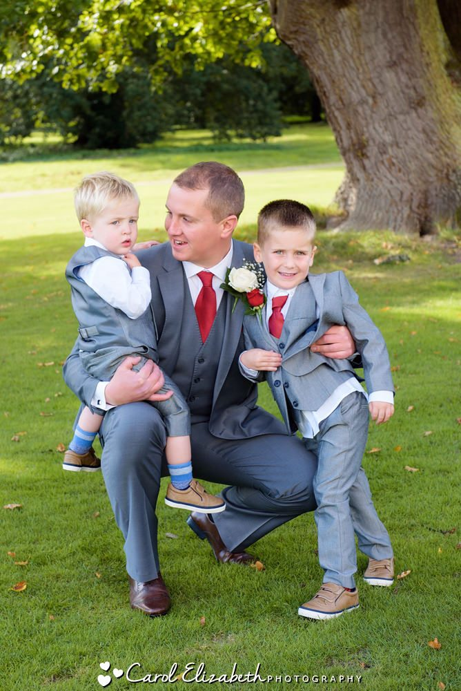 Groom and pageboys at wedding