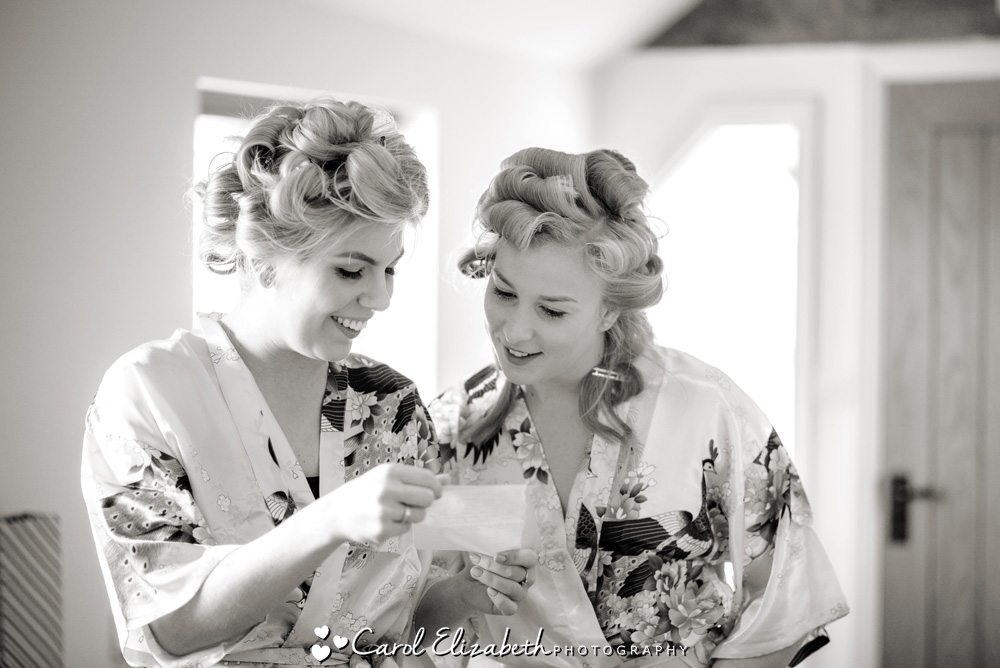 Black and white photo of bridesmaids