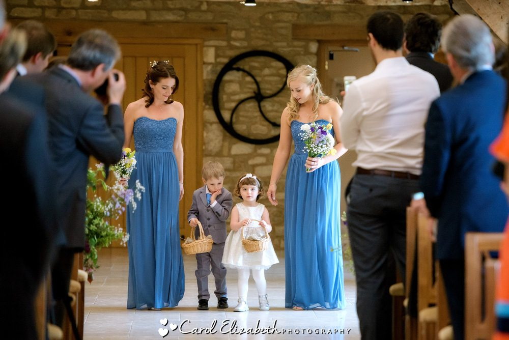 Bridesmaids with pageboy and flowergirl