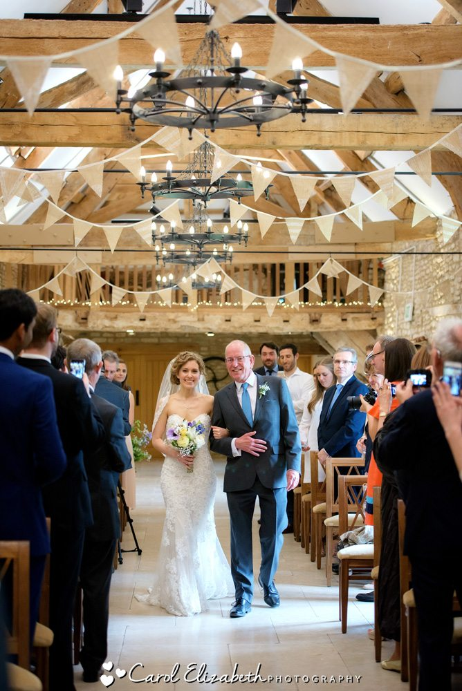 Caswell House wedding ceremony in the barn