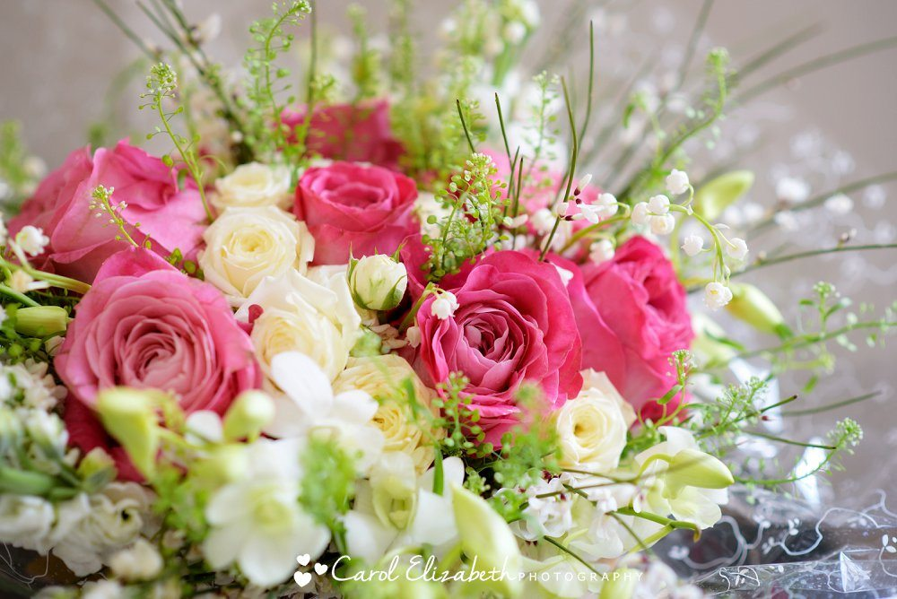 Bridal bouquet pink and white roses by Ann Laing