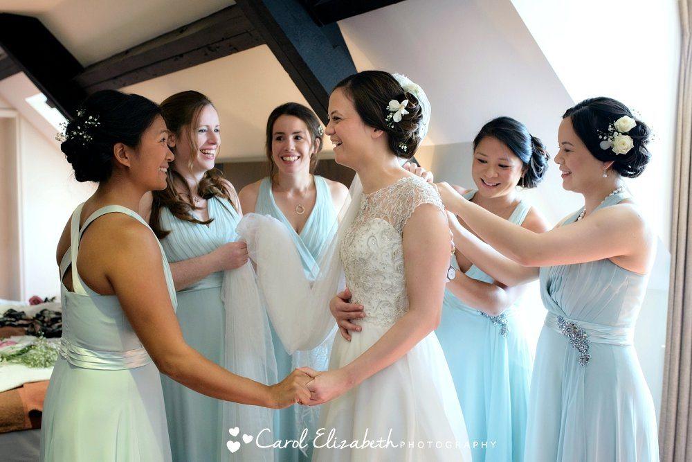 Bride and bridesmaids at Milton Hill wedding