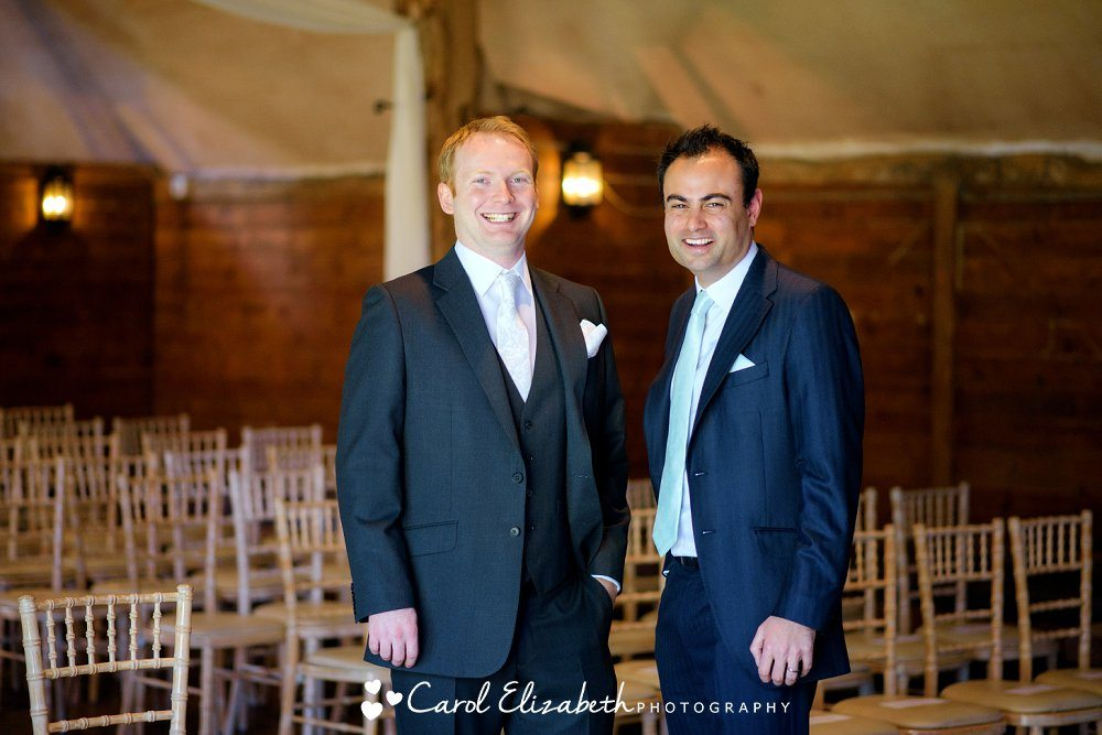 Groom and best man at Lains Barn