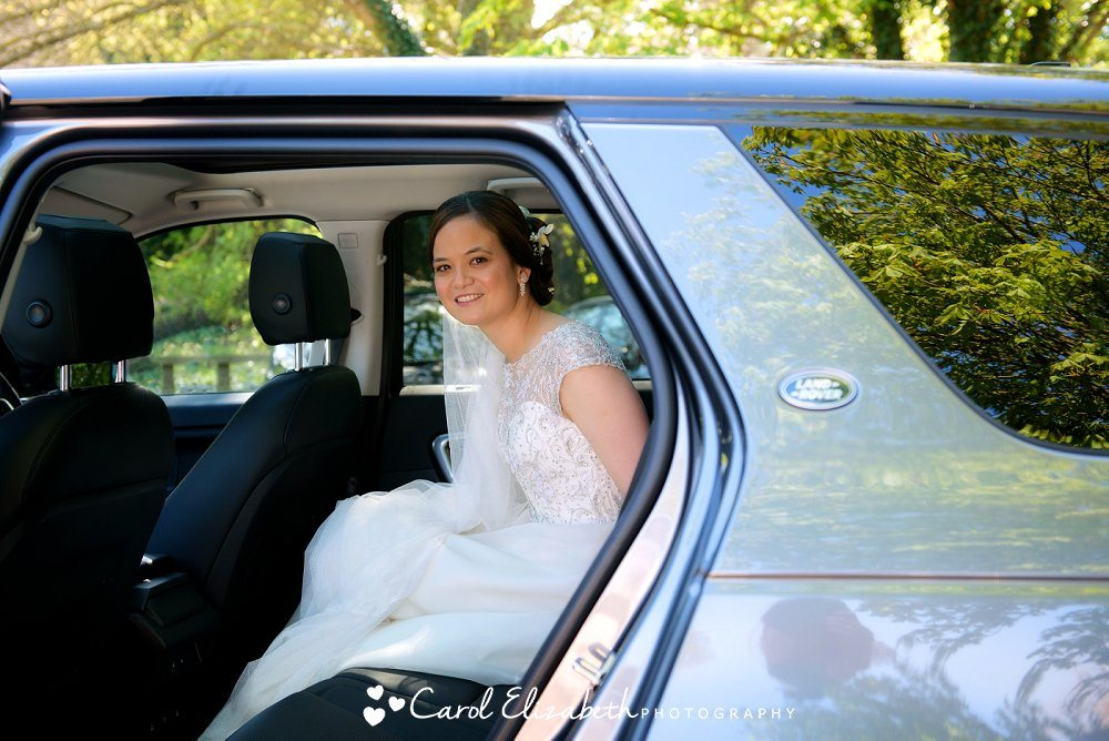Bride arriving at the wedding
