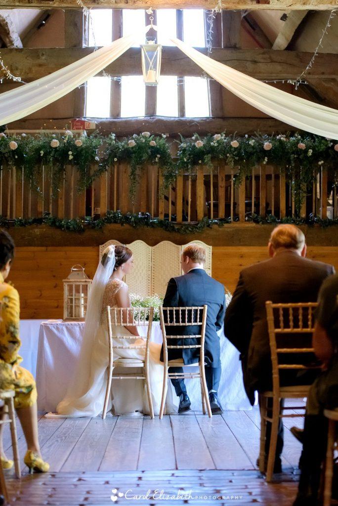 Lains Barn wedding ceremony