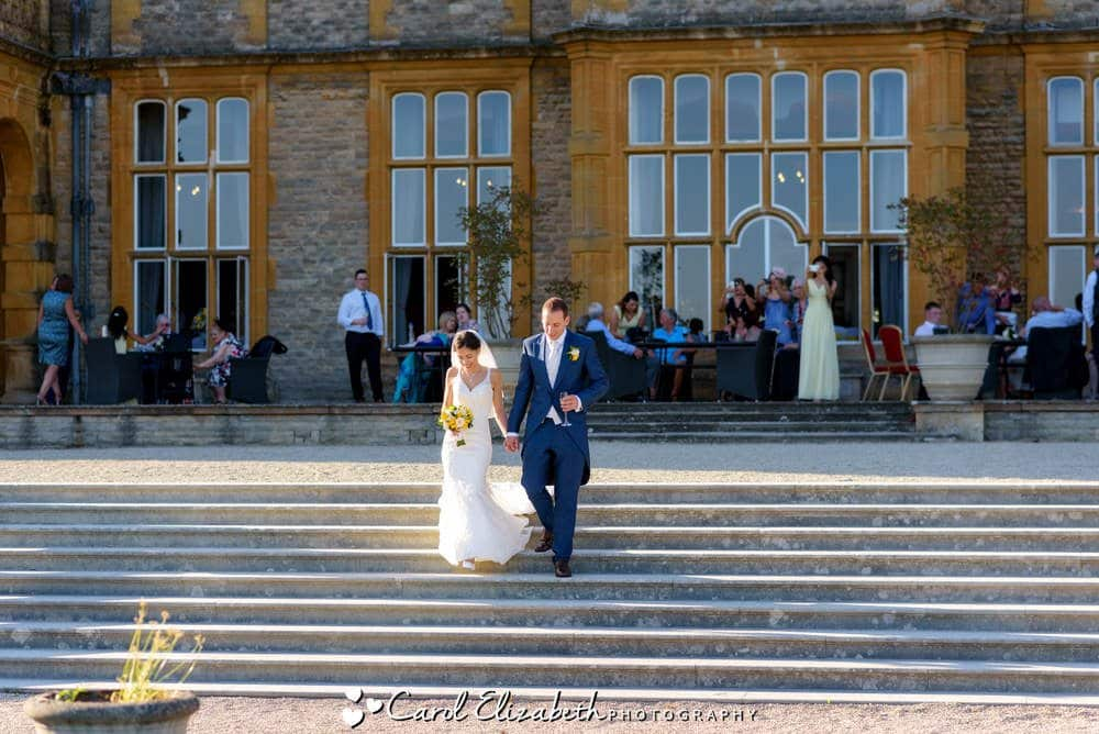 Wedding couple on the steps