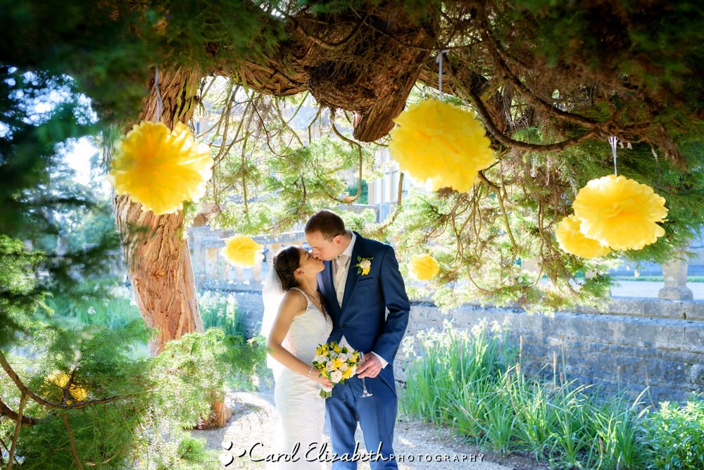 Yellow paper flowers at a wedding