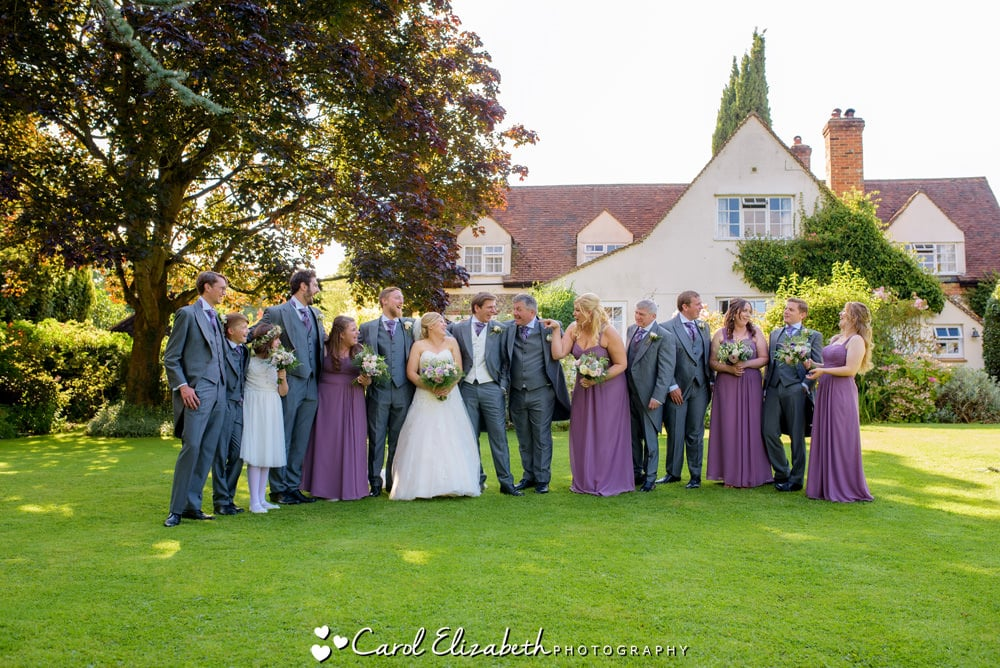 Relaxed group photo of bridal party