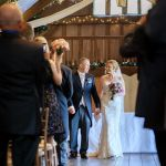 Bride and groom after wedding ceremony at Lains Barn