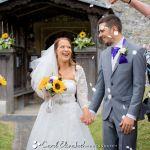Wedding confetti photo outside church
