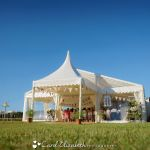 Marquee wedding with bunting