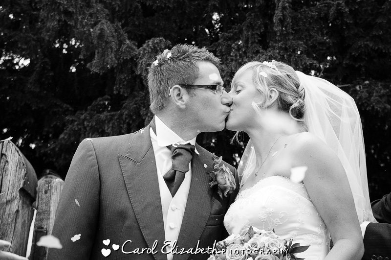 Confetti during Oxfordshire wedding