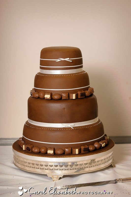 Wedding cake covered in chocolate