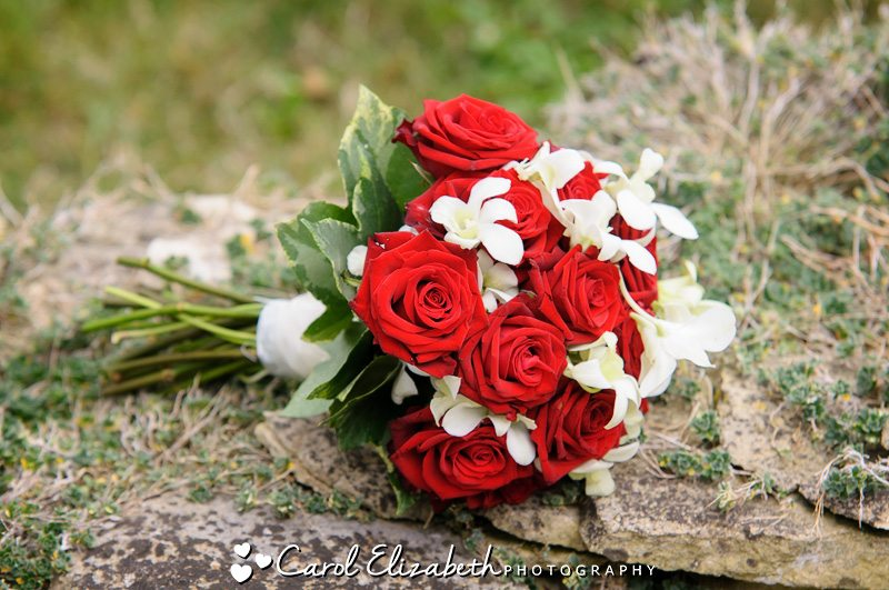 Red and white roses bridal bouquet