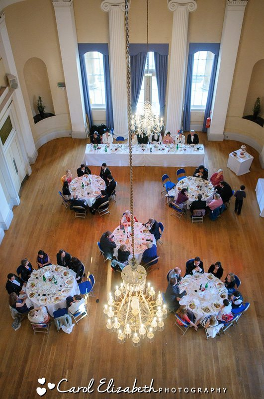 Pittville Pump Rooms wedding reception from above