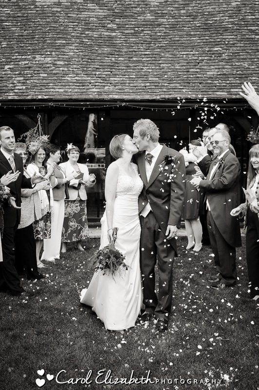 Confetti photo at Lains Barn in Oxfordshire