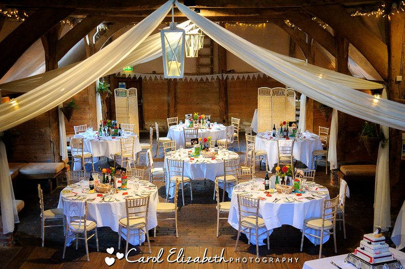 The wedding reception room at Lains Barn