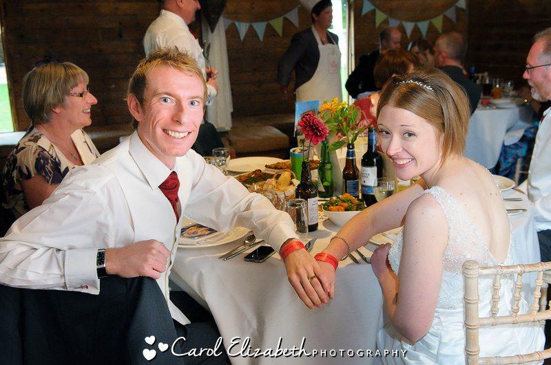 Wedding breakfast at Lains Barn wedding by Carol Elizabeth Photography