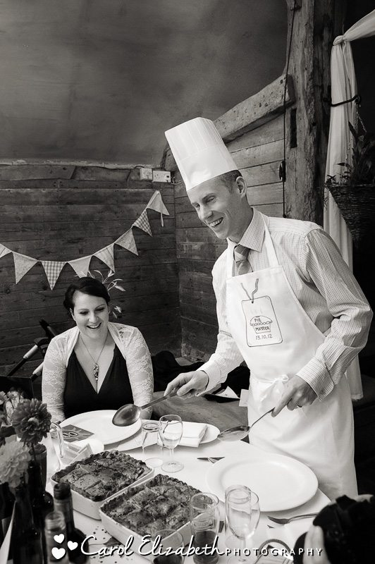 Guests serving pie at Lains Barn