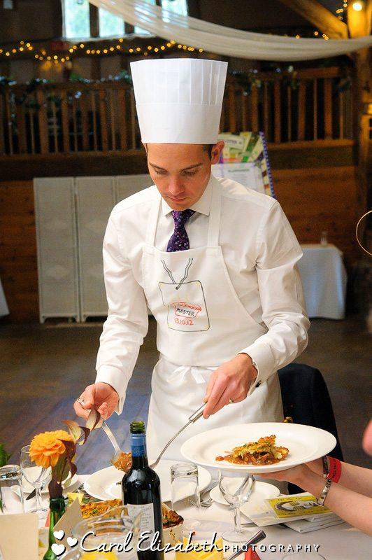 Fun photos of guests serving wedding food